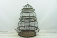 New listing Vintage Large Beehive Shaped Wire Birdcage Round Bird Cage Fabulous Green Patin
