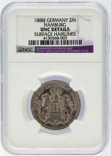 1888 J Germany 2 Mark 2M Silver Coin Hamburg NGC Graded UNC Details