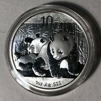 2010 China Panda Silver 10 Yuan 1 oz Coin Original Capsule