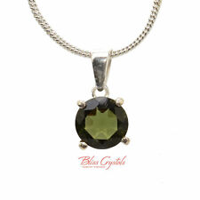 1.1gm MOLDAVITE Faceted Pendant + Chain Sterling Silver .925 Necklace #MP16