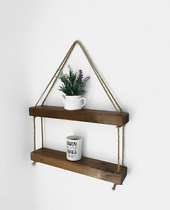 Wooden Chunky Rustic Hanging Floating Shelf Unique Home Wall Decor Single 2tier