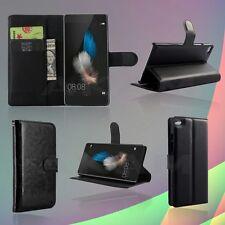 Cuir PU Noir Livre Étui Housse Portefeuille Avec Emplacements Cartes Pour Huawei