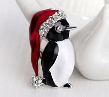 Christmas Gift Crystal Lovely Penguin Brooch Pin Silver Enamel Rhinestone Badge