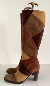 LADIES RUSSELL & BROMLEY BOOTS SUEDE PATCHWORK 79's STYLE UK5.5 MADE IN ITALY
