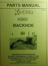 Koyker Kelly KB60 & B60 Backhoe Parts Manual 24pg Three Point Attachment Tractor
