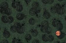 CLEARANCE - 2+YDS ''HARVEST' PUMPKINS ON GREEN TOILE FABRIC