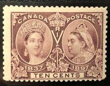 CANADA 1897 # 57 QUEEN VICTORIA 'JUBILEE' ISSUE 10c DARK BROWN  MINT HINGE FINE