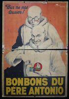 Edouard COURCHINOUX (1891-1968) Affiche publicitaire Bonbons Père Antonio 95x65