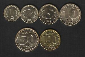 Yugoslavia Lot Set 6 Coins 1993. 1, 2, 5, 10, 50, 100 Dinara. AUNC