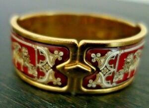 Michaela Frey Wien SUPER RARE Venise Clasp Bangle Bracelet Gold Enamel
