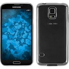 Silikon Hülle für Samsung Galaxy S5 silber Slim Fit + 2 Schutzfolien