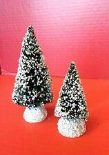 Lot Of 2 Sisal Bottle Brush Snow Glittered Christmas Trees Village Accessories