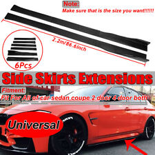"86.6"" Carbon Fiber Universal Side Skirt Extensions Rocker Panel Splitters Lip"
