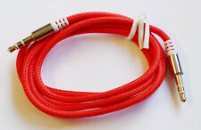 RED 1m Braided Jack to Jack 3.5mm Audio Cable Aux Stereo Lead Mobile Phone Car