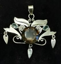 Bohemian Ethnic Smokey Topaz & Blue Topaz Silver Pendant Fairy Angel Wings Pagan