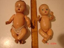 2 VINTAGE BABY DOLLS COMPOSITION BODY ARMS LEGS PAINTED FACE HEAD RESTORE REPAIR