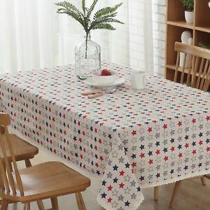 "Enova Home 54""x 80"" Colorful Stars Cotton and Linen Rectangle Tablecloth"