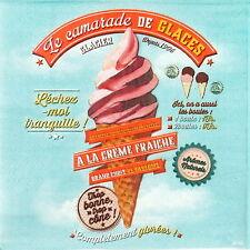 Papel 4x Servilletas Para Decoupage Artesanal Estilo Retro cono de helado en