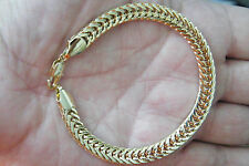 "18kt GOLD BRACELET Yellow Gold Filled Durable Links Big Clasp 8 1/4"" Sharp! NEW!"
