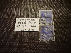 30 Cent Pair Roosevelt  US Stamp  Used  Nice   Lot A-8
