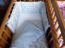 Cushi Culle per bambini altalena culla paraurti e Set Piumone Blu Elefanti e quadretti NUOVA