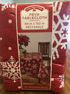 """Holiday Time Tablecloth Red & White Snow Flake 60"""" X 102"""" Rectangle NWT"""