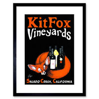 Advert Drink Alcohol Wine Vino Fox Bottle California Framed Wall Art Print