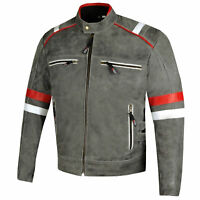 Men's Freedom Vintage Distress Cow Leather Motorcycle CE Armor Biker Jacket
