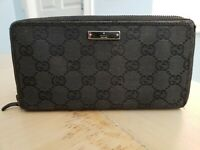 Authentic Gucci GG Zip Around Long Wallet Black Canvas Leather Clutch - USED