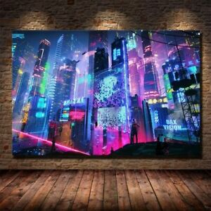 Cyberpunk 2077 Future Stream City 5D Wall Art Poster Canvas Living Room Deco