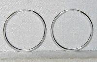 STERLING SILVER 20mm SLEEPER HOOP EARRINGS - PAIR - SOLID 925 STERLING SILVER