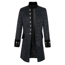 Men Stand Collar Jacket Gothic Coat Steampunk Black White Outwear Top Parka Slim