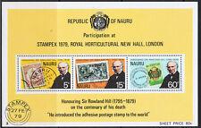 NAURU 1979 ROWLAND HILL MINI SHEET & STRIPS OF 10