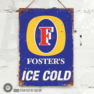 FOSTERS Lager Metal Wall Sign. Pub Bar Kitchen Home Mancave Retro Aussie Beer
