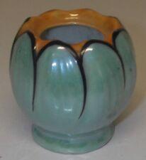 "Vintage Mustard Jar Porcelain Lusterware Luster Made Japan Orange/green 2¼""  h"