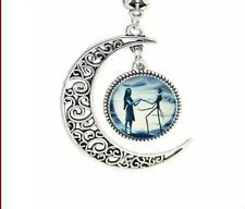 "Blue Moon Crescent Colgante Plata Esterlina 925 con 22-24"" Collar de Cadena de Amor"