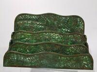 vtg Tiffany Studios Bronze art glass green Pine Needle 3 tier letter holder