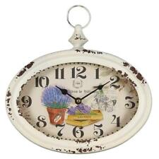 Wall Clock in Metal with Lavender Representations, Rustical Country House Watch