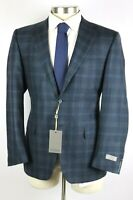 $1695 Canali 1934 Wool Cashmere Coat Jacket 44 R Teal Blue Check Natural Comfort