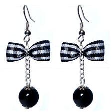 Boucles D'oreilles femme rétro rockabilly pin up noeud papillon vichy noir perle
