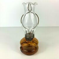 Vintage Three Star Brand Out Door Lamp Amber Glass Oil Lamp Made in Japan