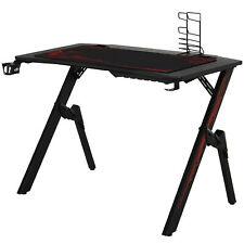 HOMCOM Gaming Tisch Schreibtisch Büro Kopfhörer Haken Wasser Becherhalter