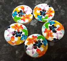 5 Large Wooden Rainbow Butterflies Buttons 25mm 2 holes