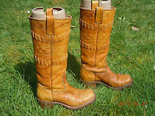 BOULET BOOTS 5 TAN LEATHER SQUARE TOED 1 3/4' HEELS EURO 36 CALGARY CANADA BOOTS