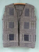 GREAT VINTAGE NAVAJO TWILL WEAVING VEST FROM A SADDLE BLANKET