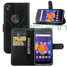 Custodia FLIP cover NERA pr Alcatel One Touch Idol 3 5.5 6045 6045Y stand+tasche