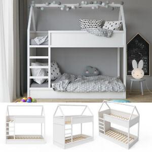 Hochbett Kinderbett Etagenbett Massimo Doppelstockbett Hausbett Weiß VitaliSpa