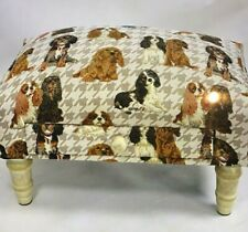 King Charles Spaniels Fabric Footstool With Drawer