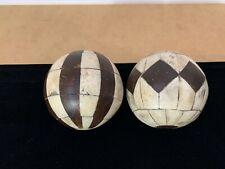 Carpet Ball 19th Century Victorian Carved Inlaid Bovine Bone Bowling Bocce-1800s