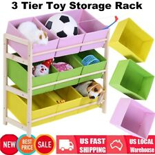 3 Tier Kids Toy Organizer Storage Bin Box Wood Frame Shelf Rack Playroom Bedroom